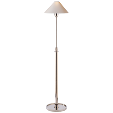 Hargett Floor Lamp in Polished Nickel with Natural Paper Shade