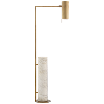 Alma Floor Lamp in Antique-Burnished Brass and White Marble