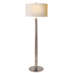 Longacre Floor Lamp in Polished Nickel with Natural Paper Shade