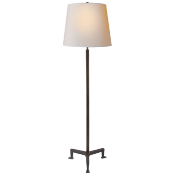 Parish Floor Lamp in Aged Iron with Natural Paper Shade
