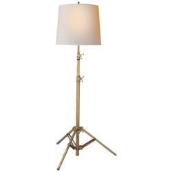 Studio Floor Lamp in Hand-Rubbed Antique Brass with Small Natural Paper Shade