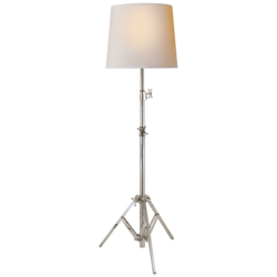 Studio Floor Lamp in Polished Nickel with Small Natural Paper Shade