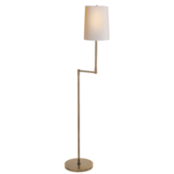 Ziyi Pivoting Floor Lamp in Hand-Rubbed Antique Brass with Natural Paper Shade