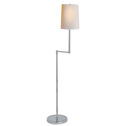 Ziyi Pivoting Floor Lamp in Polished Nickel with Natural Paper Shade