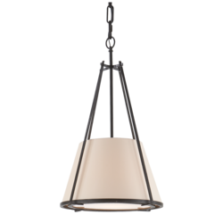 Aspen Small Conical Pendant in Black Rust with Natural Paper Shade