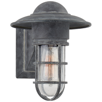 Marine Indoor/Outdoor Wall Light in Weathered Zinc with Seeded Glass