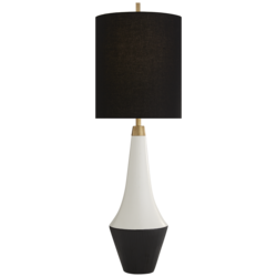 Neale Table Lamp in White Leather and Satin Black with Black Linen Shade