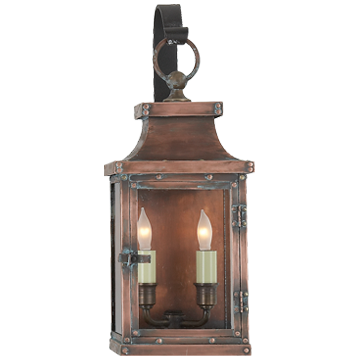 Bedford Small Scroll Arm Lantern in Natural Copper