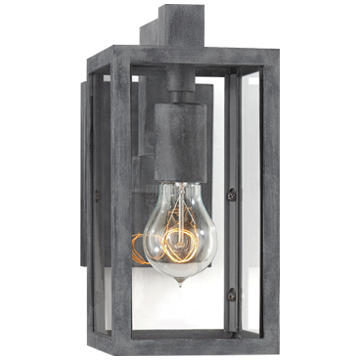 Fresno Framed Short Sconce in Weathered Zinc with Clear Glass
