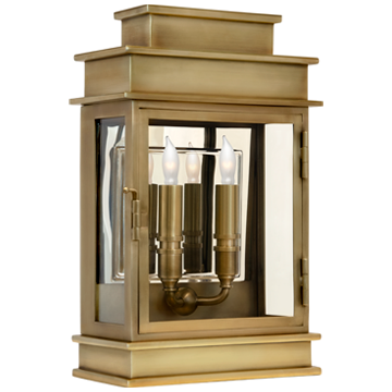 Linear Lantern Short in Antique-Burnished Brass