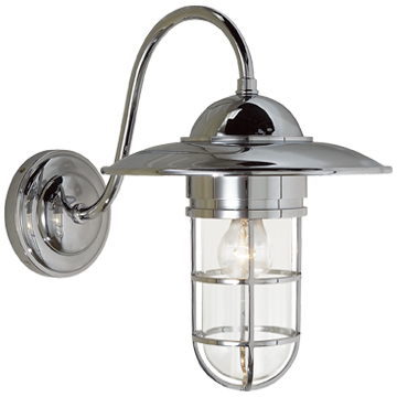 Marine Medium Wall Light in Chrome with Clear Glass