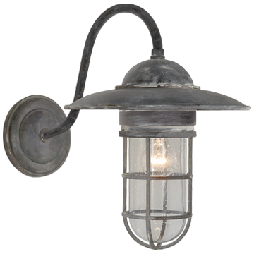 Marine Medium Wall Light in Weathered Zinc with Seeded Glass