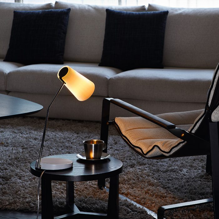 Brown Table Lamp with Opal Glass Shade