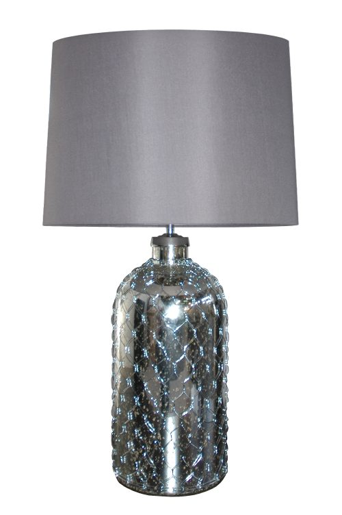 Calypso Glass Table Lamp with Charcoal Shade