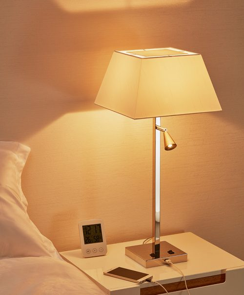 Darwin Square Table Lamp + USB with Shade