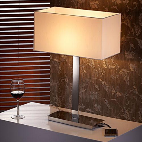 Flat Large Table Lamp + USB  with Shade