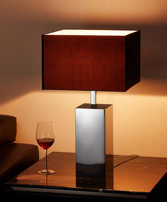 Solid  Square Big Table Lamp with Shade
