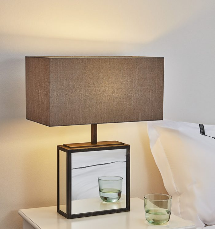 Time Oblong Big Table Lamp with Shade