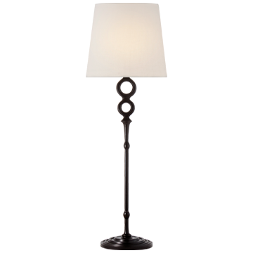 Bristol Table Lamp in Aged Iron with Linen Shade