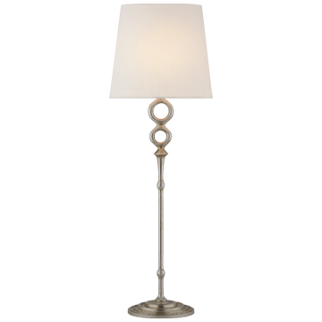 Bristol Table Lamp in Burnished Silver Leaf with Linen Shade