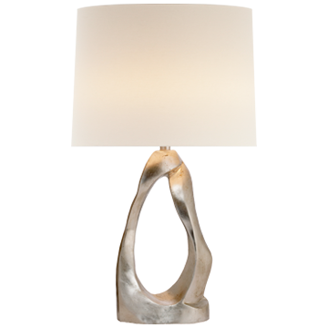 Cannes Table Lamp in Burnished Silver Leaf with Linen Shade