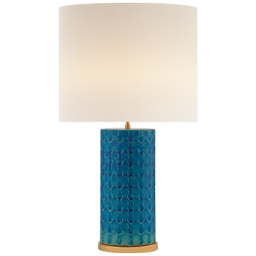Eliot Table Lamp in Blue Wave with Linen Shade