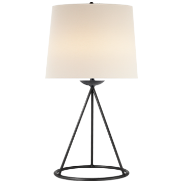Fontaine Table Lamp in Aged Iron with Linen Shade