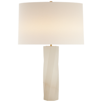 Leitha Large Table Lamp in Alabaster with Linen Shade