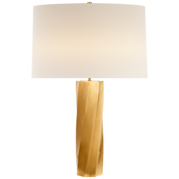 Leitha Large Table Lamp in Hand-Rubbed Antique Brass with Linen Shade