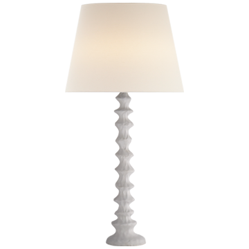Lilian Table Lamp in Plaster White with Linen Shade