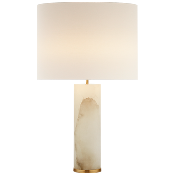 Lineham Table Lamp in Alabaster with Linen Shade