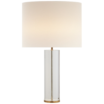 Lineham Table Lamp in Crystal and Hand-Rubbed Antique Brass with Linen Shade