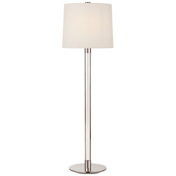 Riga Buffet Lamp in Crystal and Polished Nickel with Linen Shade