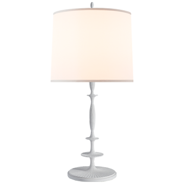 Lotus Table Lamp in Plaster White with Silk Shade