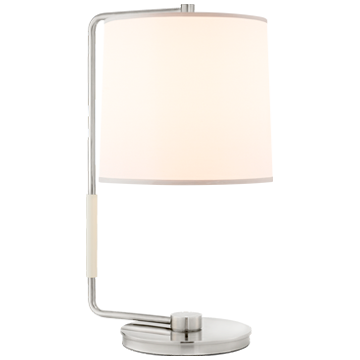 Swing Table Lamp in Soft Silver with Silk Shade