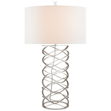 Bracelet Table Lamp in Burnished Silver Leaf with Linen Shade