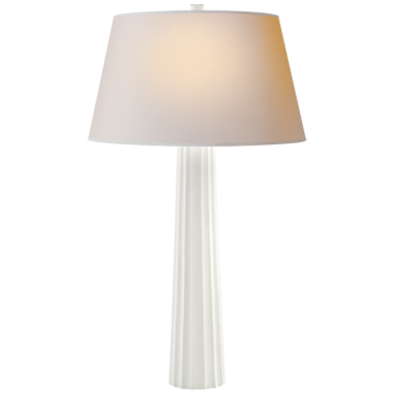 Fluted Spire Large Table Lamp in Plaster White with Natural Paper Shade