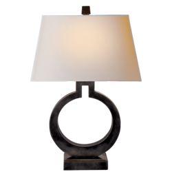 Ring Form Large Table Lamp in Bronze with Natural Paper Shade