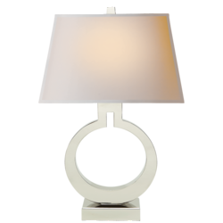 Ring Form Large Table Lamp in Polished Nickel with Natural Paper Shade