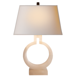 Ring Form Small Table Lamp in Alabaster with Natural Paper Shade