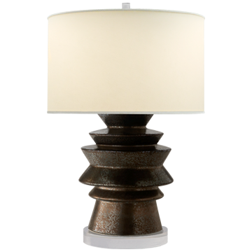 Stacked Disk Table Lamp in Crystal Bronze with Natural Percale Shade