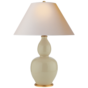 Yue Double Gourd Table Lamp in Coconut with Natural Paper Shade