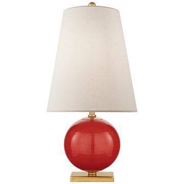 Corbin Mini Accent Lamp in Maraschino with Cream Linen Shade