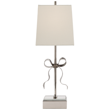 Ellery Gros-Grain Bow Table Lamp in Polished Nickel and Mirror with Cream Linen Shade