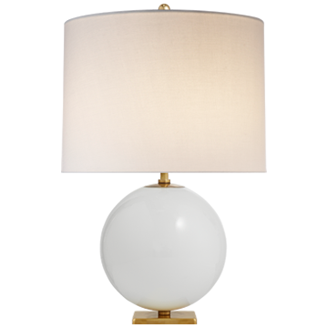 Elsie Table Lamp in Cream Reverse Painted Glass with Cream Linen Shade