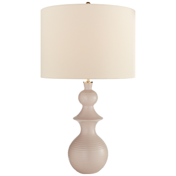 Saxon Large Table Lamp in Blush with Linen Shade