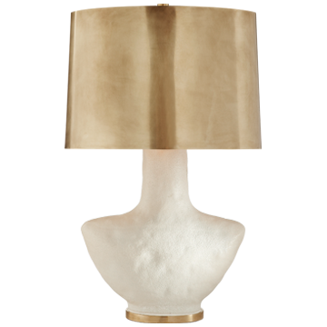 Armato Small Table Lamp in Porous White Ceramic w/- Oval Antique-Burnished Brass Shade