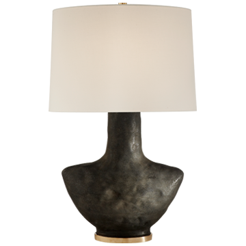 Armato Small Table Lamp in Stained Black Metallic Ceramic with Oval Linen Shade