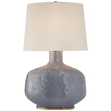 Beton Large Table Lamp in Cloudy Blue Ceramic with Linen Shade