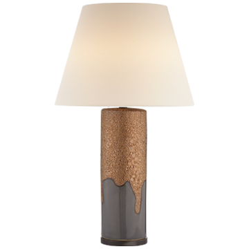Marmont Table Lamp in Chalk Burnt Gold and Dove Grey with Linen Shade